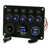 Voltmeter multi-functions 12V with USB ports and rocker switches